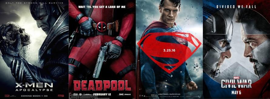 2016 superhero movie posters collage
